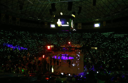Athletics - #BaylorLights Marketing and Communications - Baylor Lights Ð Lights Bright Ð Bracelets Ð Students - Light Campaign Ð Green Lights Ð MenÕs Basketball - 01/15/2018